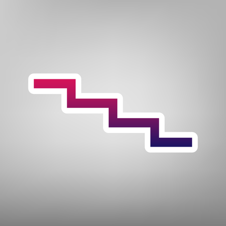 Stair down sign. Vector. Purple gradient icon on white paper at gray background. Illustration
