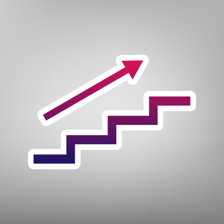 Stair with arrow. Vector. Purple gradient icon on white paper at gray background. Illustration
