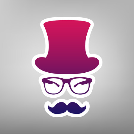 Hipster accessories design. Vector. Purple gradient icon on white paper at gray background. Illustration