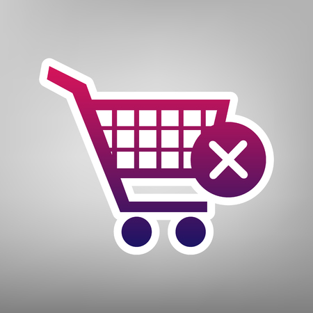 Shopping Cart with delete sign in purple gradient vector icon on white paper and gray background. Illustration