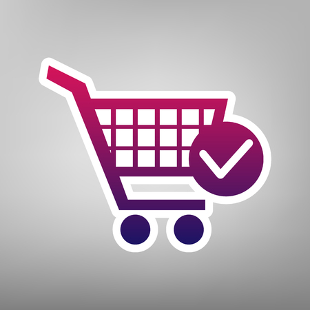 Shopping Cart with Check Mark sign in purple gradient vector icon on white paper and gray background.