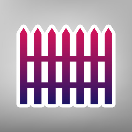 Fence simple sign. Vector. Purple gradient icon on white paper at gray background.