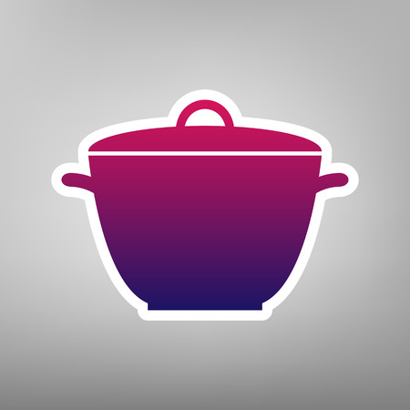 Saucepan simple sign. Vector. Purple gradient icon on white paper at gray background.
