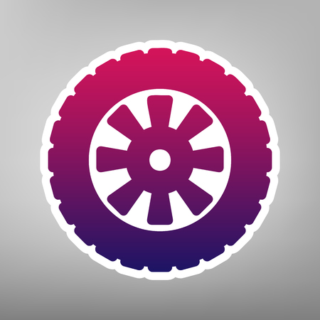 Road tire sign. Vector. Purple gradient icon on white paper at gray background. Illustration