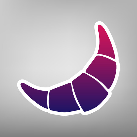 Croissant simple sign. Vector. Purple gradient icon on white paper at gray background.