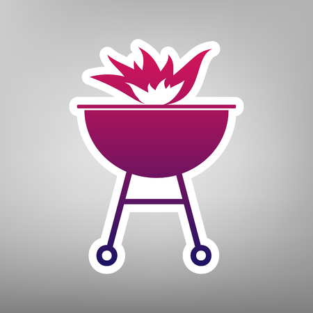 Barbecue with fire sign. Vector. Purple gradient icon on white paper at gray background.