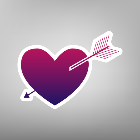 Arrow heart sign. Vector. Purple gradient icon on white paper at gray background.