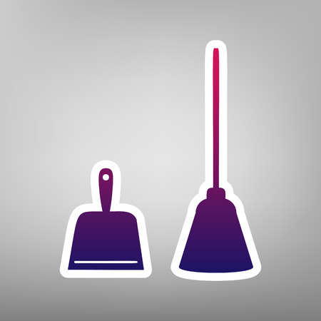 whisk broom: Dustpan vector sign. Scoop for cleaning garbage housework dustpan equipment. Vector. Purple gradient icon on white paper at gray background. Illustration