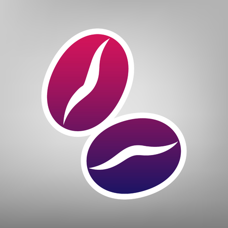 Coffee beans sign. Vector. Purple gradient icon on white paper at gray background. Ilustração