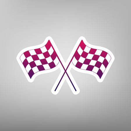 Crossed checkered flags logo waving in the wind conceptual of motor sport. Vector. Purple gradient icon on white paper at gray background. Illustration