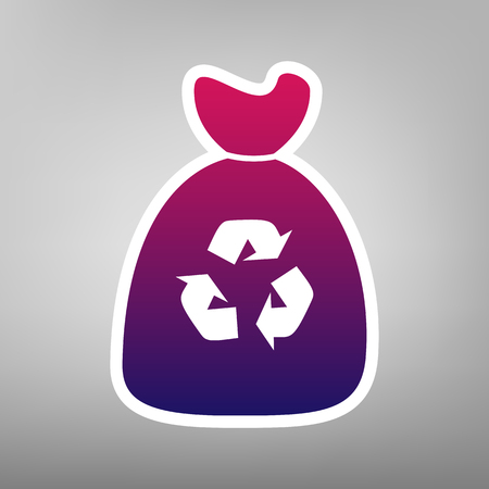 Trash bag icon. Vector. Purple gradient icon on white paper at gray background.
