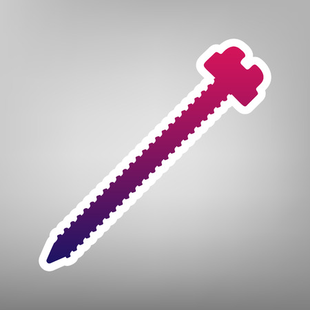 Screw sign illustration. Vector. Purple gradient icon on white paper at gray background. 向量圖像