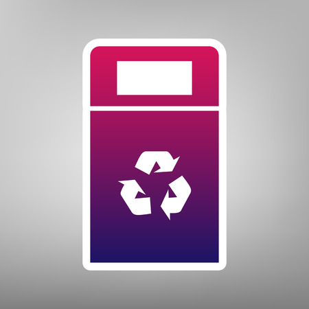 trashing: Trashcan sign illustration. Vector. Purple gradient icon on white paper at gray background.