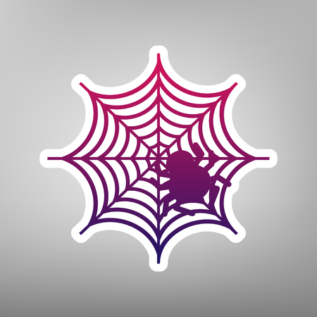 Spider on web illustration. Vector. Purple gradient icon on white paper at gray background. Illustration