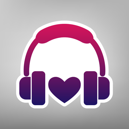 icon: Headphones with heart. Vector. Purple gradient icon on white paper at gray background. Illustration