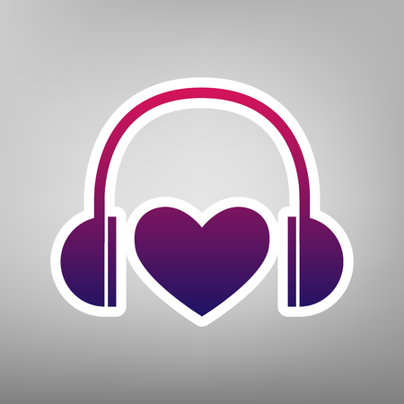 Headphones with heart. Vector. Purple gradient icon on white paper at gray background. Illustration