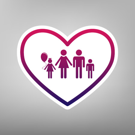 siloette: Family sign illustration in heart shape. Vector. Purple gradient icon on white paper at gray background.
