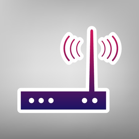 Wifi modem sign. Vector. Purple gradient icon on white paper at gray background. Иллюстрация
