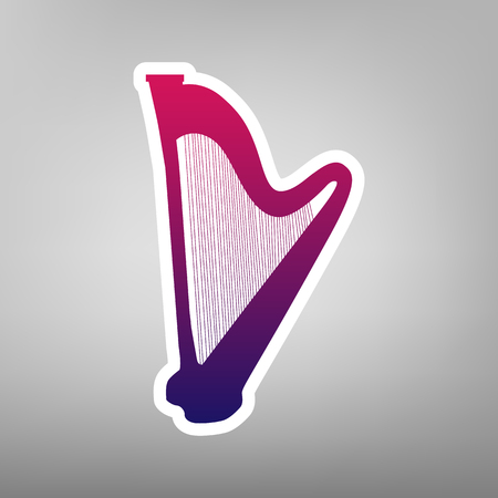 Musical instrument harp sign. Vector. Purple gradient icon on white paper at gray background.