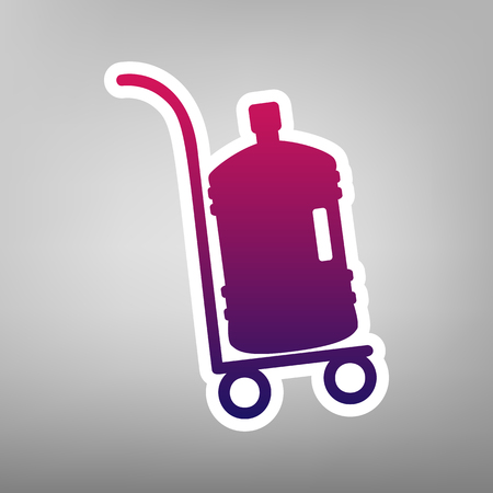 Plastic bottle silhouette with water. Big bottle of water on track. Vector. Purple gradient icon on white paper at gray background.