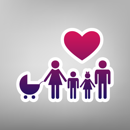 Family sign with heart. Husband and wife are kept childrens hands. Vector. Purple gradient icon on white paper at gray background.