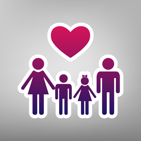baby and mother: Family symbol with heart. Husband and wife are kept childrens hands. Vector. Purple gradient icon on white paper at gray background.