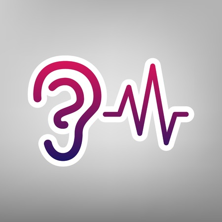 audible: Ear hearing sound sign. Vector. Purple gradient icon on white paper at gray background. Illustration