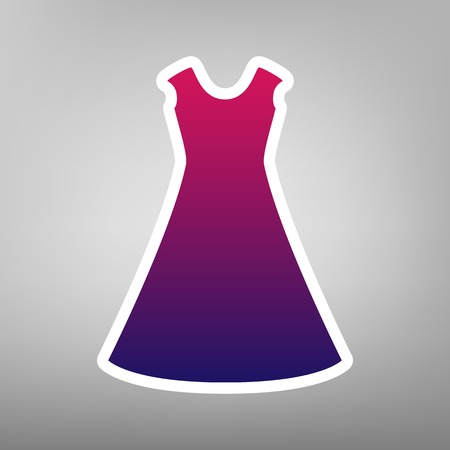beautiful long dress sign. Vector. Purple gradient icon on white paper at gray background. Illustration