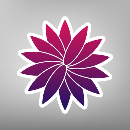 Flower sign. Vector. Purple gradient icon on white paper at gray background.