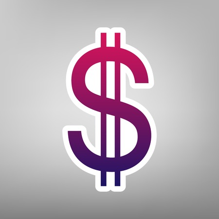 United states Dollar sign. Vector. Purple gradient icon on white paper at gray background.