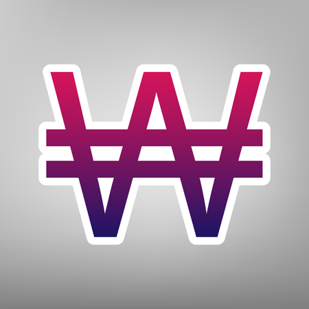Won sign. Vector. Purple gradient icon on white paper at gray background. Illustration