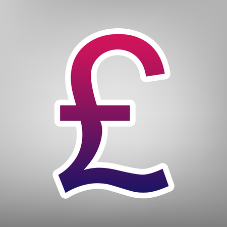 Turkish lira sign. Vector. Purple gradient icon on white paper at gray background.