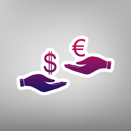 Currency exchange from hand to hand. Dollar adn Euro. Vector. Purple gradient icon on white paper at gray background.