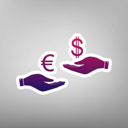 Currency exchange from hand to hand. Euro and Dollar. Vector. Purple gradient icon on white paper at gray background.