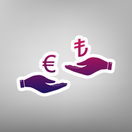 Currency exchange from hand to hand. Euro and Lira. Vector. Purple gradient icon on white paper at gray background. Illustration