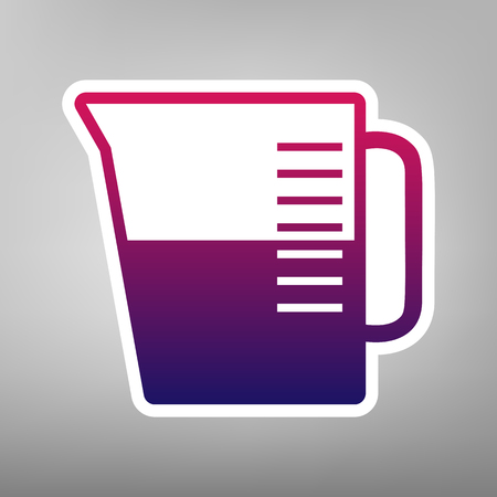 ml: Beaker sign. Vector. Purple gradient icon on white paper at gray background. Illustration