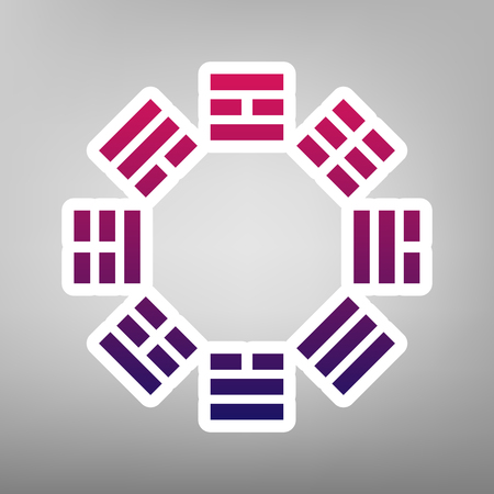taiji: Bagua sign. Vector. Purple gradient icon on white paper at gray background.