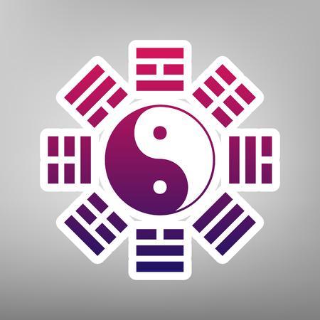 陰と陽は、八卦の配置で署名します。ベクトル。灰色の背景に白い紙の上の紫のグラデーション アイコン。  イラスト・ベクター素材