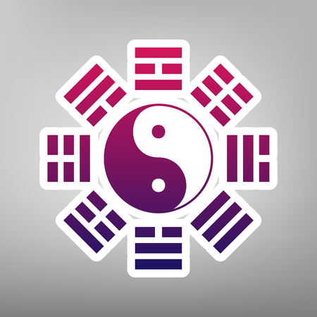 Yin and yang sign with bagua arrangement. Vector. Purple gradient icon on white paper at gray background. 일러스트