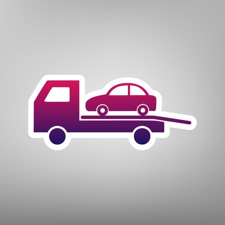 evacuacion: Señal de evacuación del vehículo de remolque. Vector. Icono degradado púrpura en papel blanco en fondo gris.