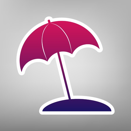 Umbrella and sun lounger sign. Vector. Purple gradient icon on white paper at gray background.