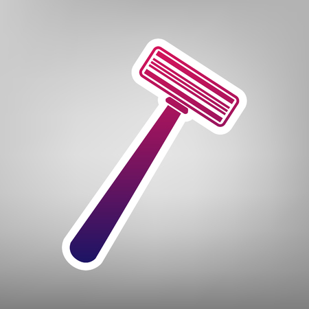 gray hair: Safety razor sign. Vector. Purple gradient icon on white paper at gray background.