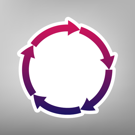 shopping chart: Circular arrows sign. Vector. Purple gradient icon on white paper at gray background.