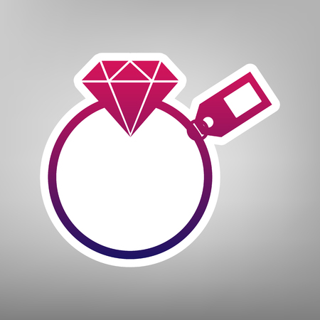diamond stones: Diamond sign with tag. Vector. Purple gradient icon on white paper at gray background.