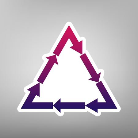 v cycle: Plastic recycling symbol PVC 3 , Plastic recycling code PVC 3. Vector. Purple gradient icon on white paper at gray background.