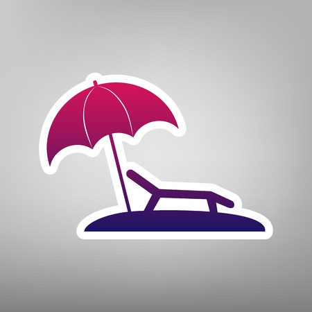 recliner: Tropical resort beach. Sunbed Chair sign. Vector. Purple gradient icon on white paper at gray background. Illustration