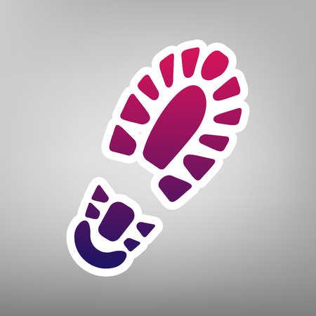 Footprint boot sign. Vector. Purple gradient icon on white paper at gray background. Illustration