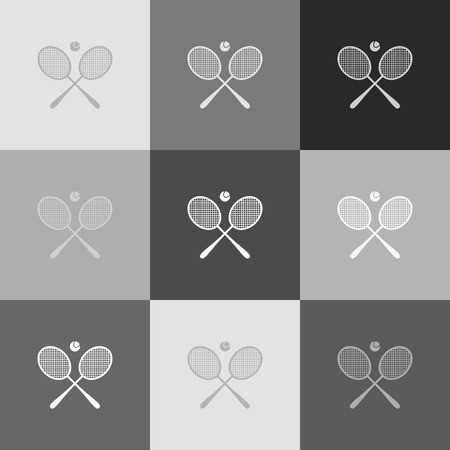 Two tennis racket with ball sign. Vector. Grayscale version of Popart-style icon. Banco de Imagens - 80006221