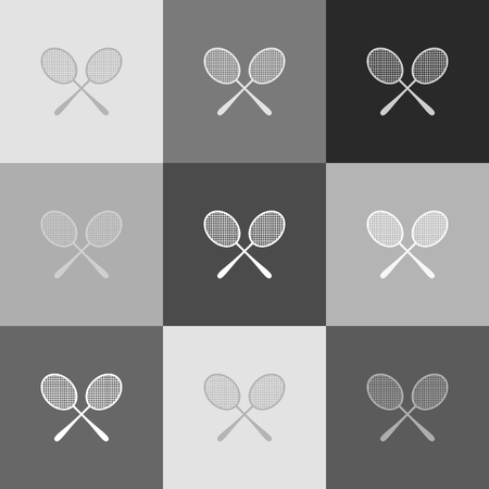 Two tennis racket sign. Vector. Grayscale version of Popart-style icon. Illustration