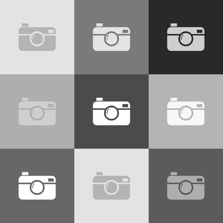 Digital photo camera sign. Vector. Grayscale version of Popart-style icon. Illustration